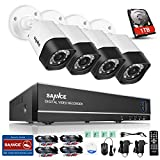 SANNCE 8CH 1080N Security Camera System with 1TB Hard Drive and (4) Night Vision Surveillance Cameras, IP66 Weatherproof , P2P Technology/E-Cloud Service, QR Code Scan Remote Access