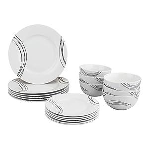 AmazonBasics 18-Piece Dinnerware Set - Statement, Service for 6