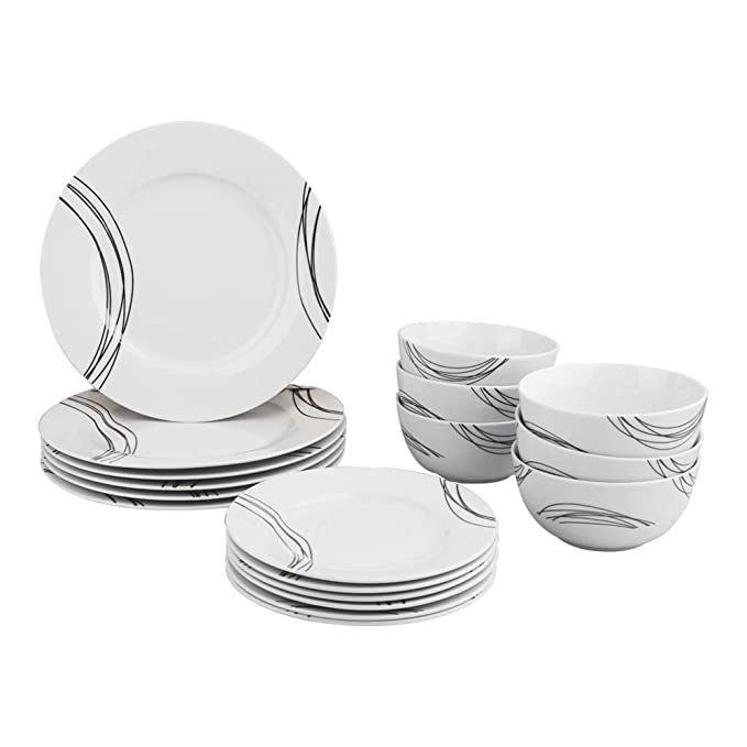 AmazonBasics 18-Piece Kitchen Dinnerware Set, Dishes, Bowls, Service for 6, Statement
