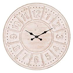 Patton Wall Decor 30 Inch Carved Light Stained Wood Wall Clock White