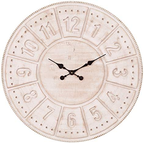 Patton Wall Decor 30 Inch Carved Light Stained Wood Wall Clock
