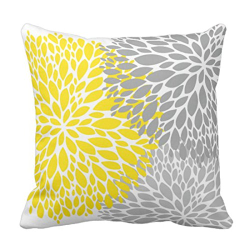 Emvency Throw Pillow Cover Flower Modern Yellow and Grey Floral Dahlia Decorative Pillow Case Home Decor Square 20 x 20 Inch Pillowcase