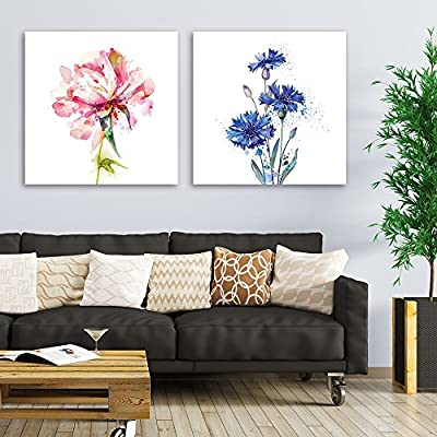 Incredible Style, That You Will Love, 2 Panel Square Watercolor Style Pink and Blue Flowers on White Background x 2 Panels