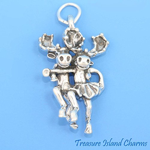Charm - Sterling Silver - Jewelry - Pendant - Moose Couple Dancing