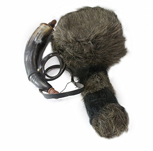 Well Pack Box Davy Crockett Daniel Boone Soft Raccoon Tail Hat Fake Fur - Powder Horn Costume Great for Halloween and Costume Parties by Well Pack Box (Image #1)