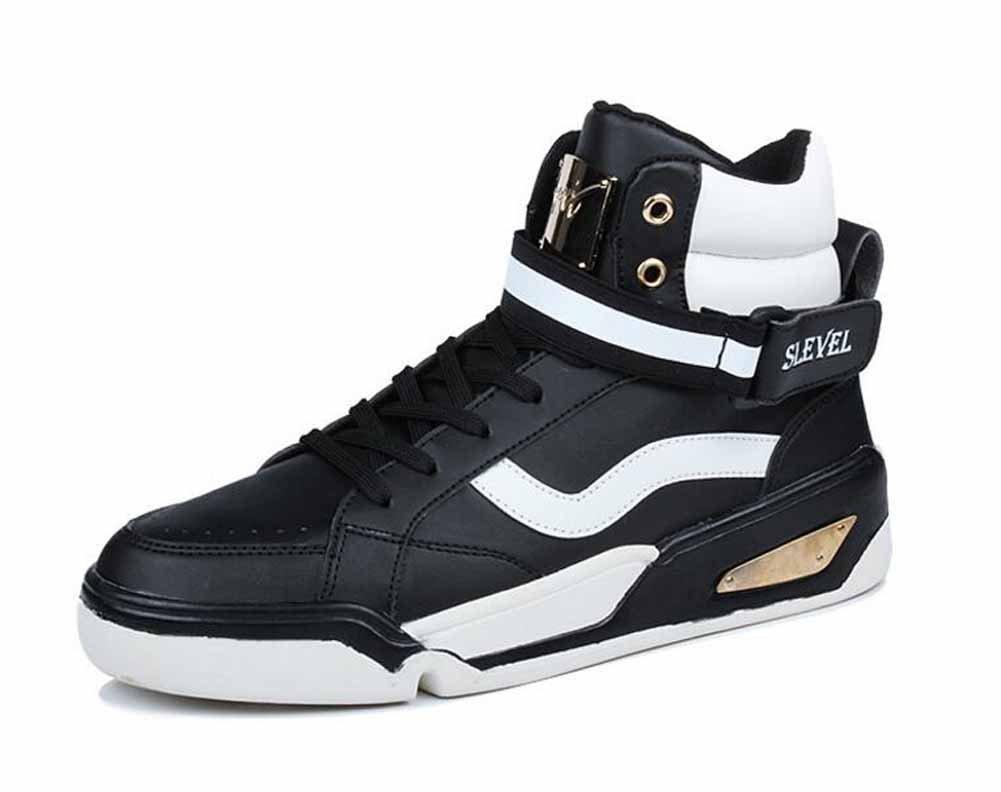 Hombres Casual Pisos Zapatos Juventud Tendencia Skateboarding Zapatos Estudiantes Sencillo Británico Cima Mas Alta Zapatillas ( Color : Black , Size : 42 ) 42|Black