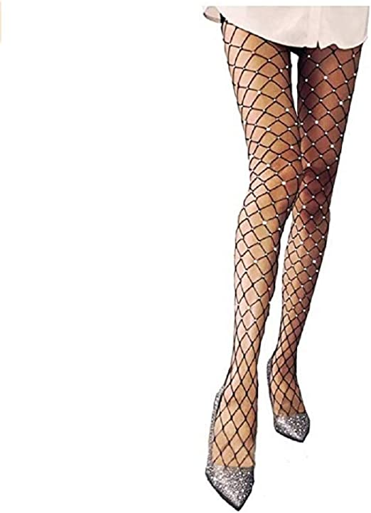 ToBe-U Pantyhose Stockings Hot Drilling Fishnet Socks Stockings Hollow Fine Mesh Leggings