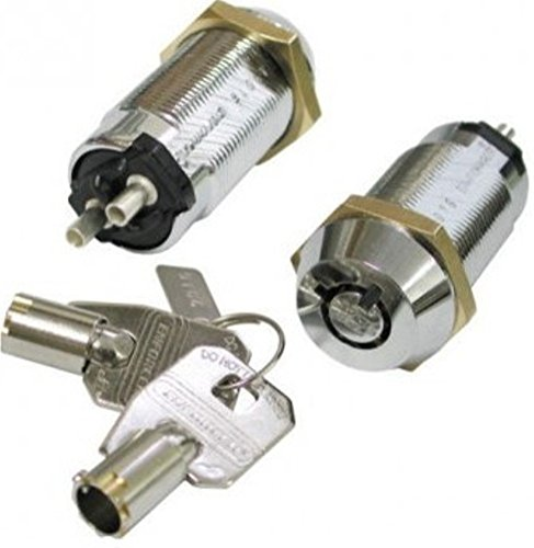 SECO-LARM SS-090-2H1 Tubular Key Lock Switch; Shunt ON/OFF 2 Terminals, SPST; Maintained ON-OFF, Key Removable From Both ON andOFF Positions; Rated2 Amps@12VDC; N.O. Turn to Close