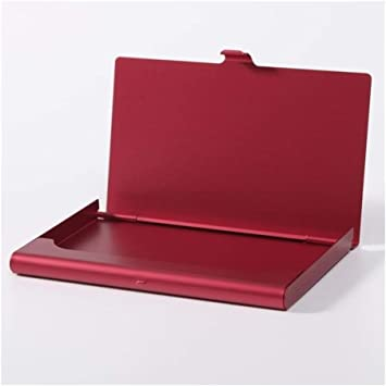 Portátiles De Diapositivas Automática Sostenedor De La Identificación De Aluminio Tarjeta De Efectivo De Negocios RFID Monedero El Bloqueo De La Tarjeta De Crédito Del Protector De La Caja Del Moneder: Amazon.es: