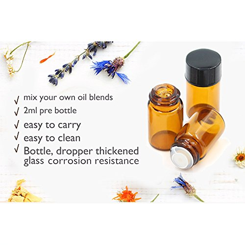 Fomei 100 Packs Oil Bottles for Essential Oils 2 ml (5/8 Dram) Amber Glass Vials Bottles, with Orifice Reducers and Black Caps, With 2 Free Glass Transfer Eye droppers by Fomei (Image #7)
