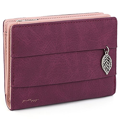 UTO Women's PU Leather Leaf Wallet Card Holder Zipper Coin Purse Snap Closure S Red (Snap Coin)