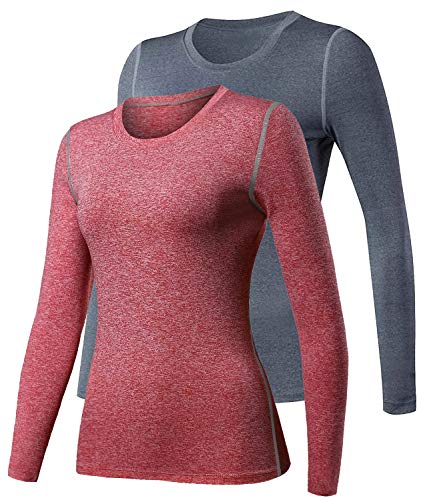 HuaTu Women Performance Compression Base Layer Long Sleeve Crew Neck Tops Tee T Shirts (US Sizes M, GreyRed)
