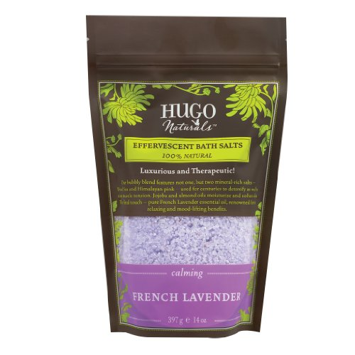 Hugo Naturals Effervescent Bath Salt, French Lavender, 14 Ounce Resealable Bag