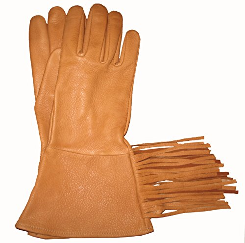 Sullivan Easy Rider Fringe Glove Cavalry Deerskin Made in USA! XL Size Saddletan Color 1 (Rider Fringe)