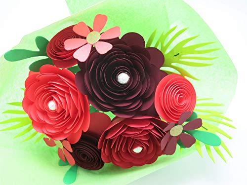 - Valentine's Day Red Ombre Rose Bouquet, 15 Handmade Card Stock Flowers and Leaves on Stems, Paper Roses and Daisies, Gift Idea