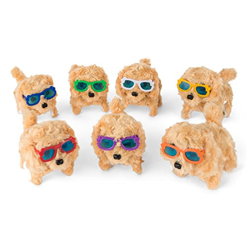 Battery Operated Plush Puppy Toy Dog Walking Barking Tail Wagging Head Nodding Electronic Stuffed Cute Animal Toy for Kids ( Brown Dog with Random Color Glasses - Cutest Glasses