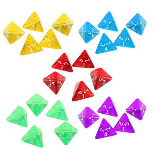 Sala-Fnt - Gem Muti Sided Dices Set of 5 D4 Dark Heresy D&D RPG Games Colorful Dices Funny Family Kids Club Games Supplies