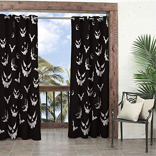 Linhomedecor Balcony Waterproof Curtains Halloween White Evil Bat doorways Grommets Cabana Curtain 120 by 108 inch -