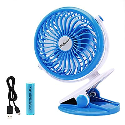 Battery Operated Clip Fan for Baby Stroller Car Back Seat Laptop Travel Outdoors Camping ,Small Personal Fan Mini Desk Table Fan Portable Hand Held Powered by Rechargeable 2200mAh 18650 Battery or USB