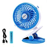 Battery Operated Clip on Fan for Baby Stroller Car Back Seat Laptop Travel Outdoors Camping ,Small Personal Fan Mini Desk Table Fan Portable Hand Held Powered by Rechargeable 2200mAh Battery or USB offers