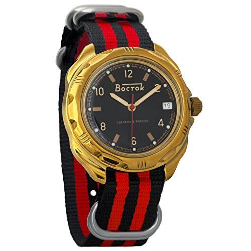 Vostok Komandirskie Black Dial Army Mechanical Mens Military Commander Wrist Watch #219326 (black+red)