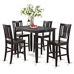 East West Furniture BUCK5-BLK-W 5-Piece Counter Height Table Set, Black Finish