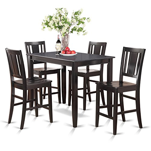 East West Furniture BUCK5-BLK-W 5-Piece Counter Height Table Set, Black Finish - Counter Height Dining Furniture