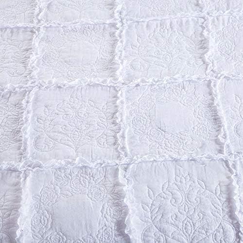 DECB Couvre-lit matelassé brodé de Couleur Unie Ensemble de literie 3 pièces Couvre-lit en Coton avec 2 taies d'oreiller Assorties pour Toute la Saison 230 × 250 cm, Blanc