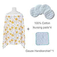 FITTIN Nursing Cover For Breastfeeding - 100% Breathable Cotton With Storage Pockets and Innovative Baby Monitor Neckline