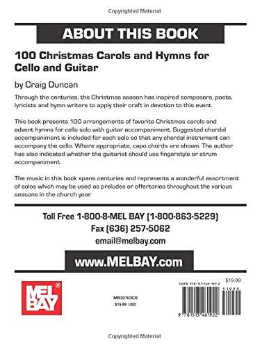 Christmas Music Chords.Amazon Com 100 Christmas Carols And Hymns For Cello And