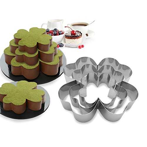3 Tier Four-Leaf Clover - Shapes Multilayer Anniversary Birthday Cake Baking Pans,Stainless Steel 3 Sizes Rings Four-Leaf Clover - Shapes Molding Mousse Cake Rings(Four-Leaf Clover - Shapes,Set of 3) (Stainless Steel Shamrock Ring)