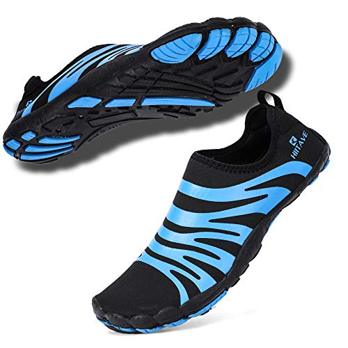 hiitave Men Water Shoes Beach Aqua Socks Quick Dry for Outdoor Sport Hiking Swiming Surfing Black/Blue 10.5/11 M US Men