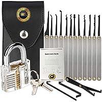 Lock Picking Kit with Practice Lock - Stainless Steel Multitool Practice Tool Lock Set with Padlock 15pieces