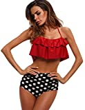 ROPALIA Two Piece Swimsuit Women's Floral High Waisted Vintage Inspired Style Bathing Suit