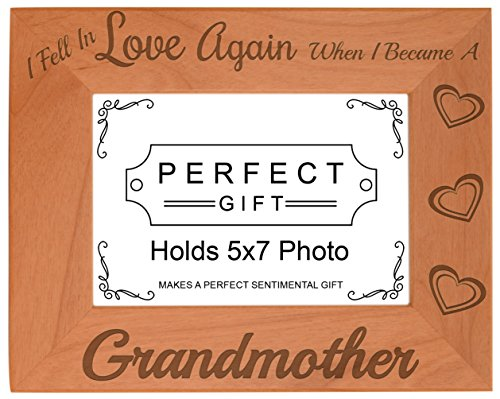 ThisWear Grandma Gifts Fell in Love Became Grandmother Natural Wood Engraved 5x7 Landscape Picture Frame Wood