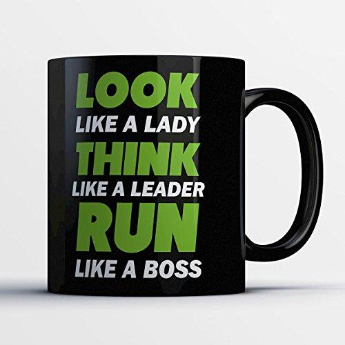 Runners Coffee Mug - Run Like A Boss - Funny 11 oz Black Ceramic Tea Cup - Cute and Humorous Runners Gifts with Runners Sayings