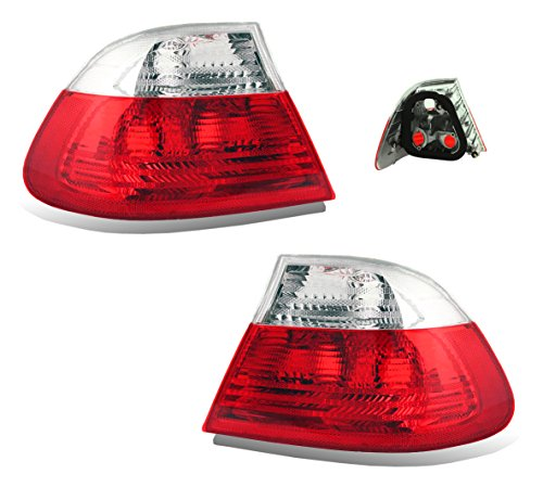 SPPC 2 Door Taillights Red/Clear Assembly Set For BMW 3 Series E46 - (Pair) Driver Left and Passenger Right Side Replacement