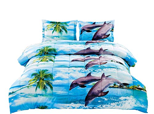 2 Piece Box Stitched 3d Dancing Dolphin Prints Comforter Set (D012) (Twin) (Dolphin Twin Bed Set)