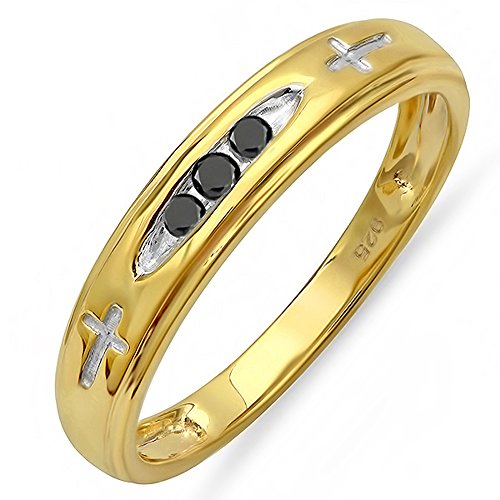 Dazzlingrock Collection 0.15 Carat (ctw) 18K Yellow Gold Plated Sterling Silver 3 Stone Round Diamond Cross Design Mens Band Ring, Size 11.5