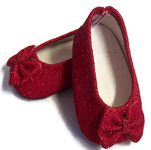 18 inch Doll Shoes Red Glitter Princess Shoes Made for 18