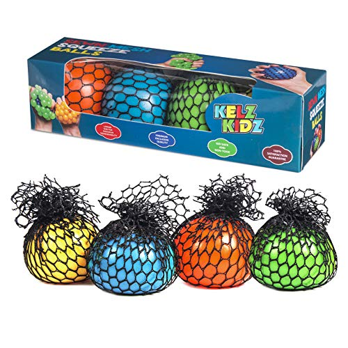 KELZ KIDZ Quality & Durable Mesh Squishy Balls with Exclusive Sewn Mesh! (4 Pack Gift Pack!)