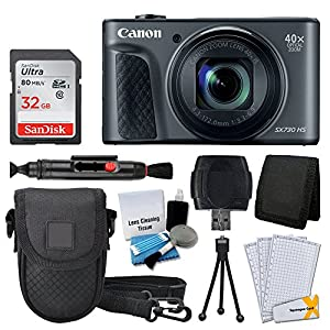 Canon PowerShot SX730 HS Digital Camera (Black) + 32GB Memory Card + Deluxe Point & Shoot Case + USB Card Reader + Memory Card Wallet + Table Top Tripod + 5 Piece Cleaning Kit + Full Accessory Bundle