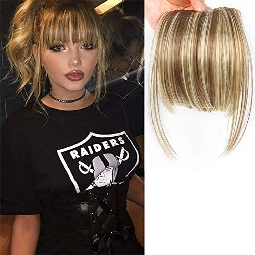 Leeons Fringe Bangs Hair Extensions Clip In Bangs 6 Short Straight Hairpiece Front Neat Bang Two Side Blonde 18h613 Amazon Ca Beauty