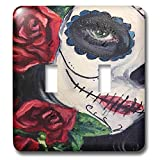 3dRose Melissa A. Torres Art Dia de los Muertos - Image of partial face of woman in Day of the Dead Makeup with roses - Light Switch Covers - double toggle switch (lsp_287461_2)