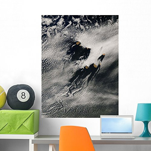 Wave Shaped Ship Wave (Wallmonkeys Ship-wave-shaped Wave Clouds and Wall Mural by Peel and Stick Graphic (36 in H x 27 in W) WM28097)