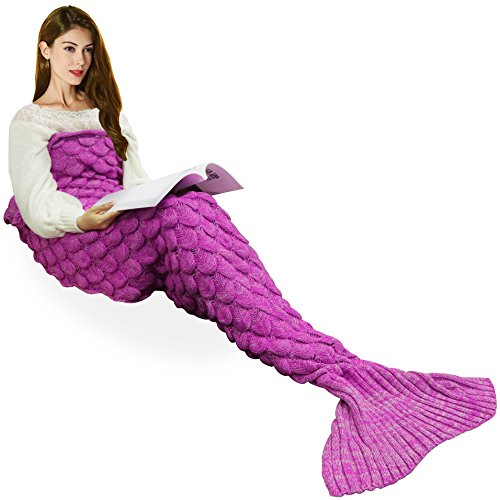[Handmade Mermaid Tail Blanket Crochet , Ibaby888 All Seasons Warm Knitted Bed Blanket Sofa Quilt Living Room Sleeping Bag for Kids and Adults (72.8
