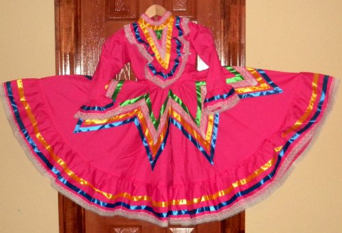 Handmade Girls Size X-Small Jalisco Pink Dress Flow For Folkloric Dance New]()