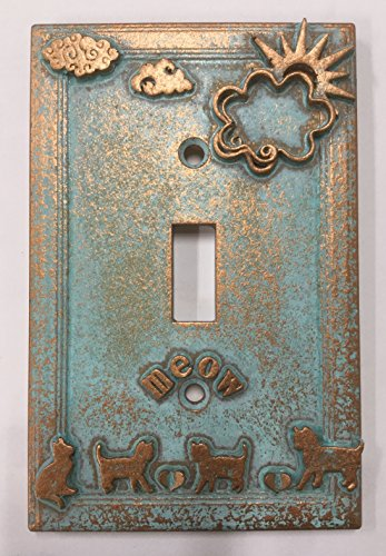 (Summer Kittens Light Switch Cover (Aged Patina))