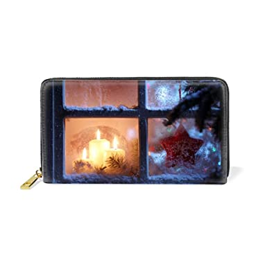 22426d590ade Womens Christmas Window Candle Ornaments Pattern Long True Wallet ...