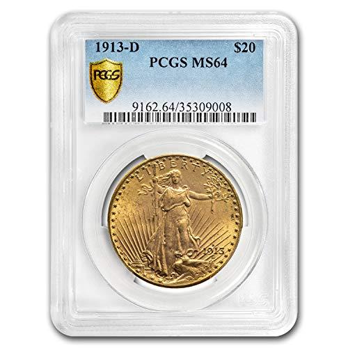 1913 D $20 St. Gaudens Gold Double Eagle MS-64 PCGS G$20 MS-64 PCGS